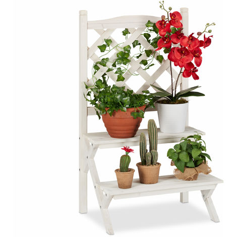 Relaxdays Flower Ladder Rack with Trellis, Plant Stand with 2 Tiers, Wooden, 89 x 51.5 x 38.5 cm, White