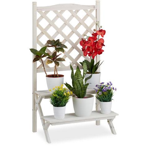 Relaxdays Flower Rack with Trellis, 2-Tier Plant Stand, Wooden Shelf, 109 x 61 x 39 cm, White
