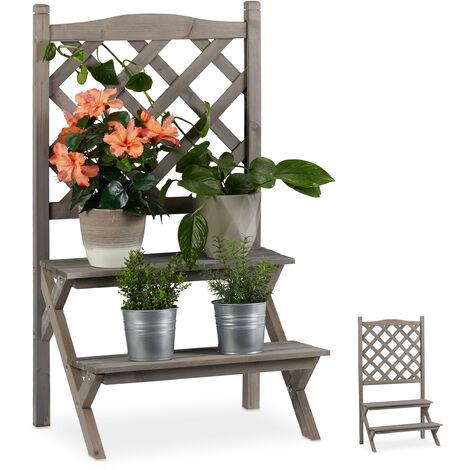 Relaxdays Flower Rack with Trellis, 2-Tier Plant Stand, Wooden Shelf, HWD: 90x51x40 cm, Grey