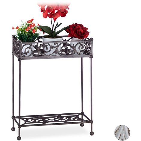 Relaxdays Flower Shelf, Cast Iron, Solid, 2 Tiers, Shabby Look, Country Style Planter Stand, HWD: 72x53x22, Brown
