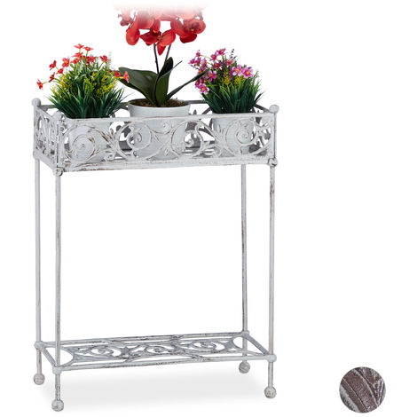 Relaxdays Flower Shelf, Cast Iron, Solid, 2 Tiers, Shabby Look, Country Style Planter Stand, HWD: 72x53x22, White