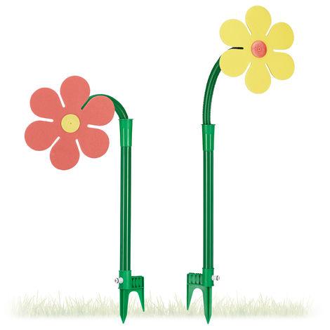 Relaxdays Flower Sprinkler Set of 2, Children, 6m Reach, 360°, Splash Toy, HxWxD: 105 x 28 x 28 cm, Red/Yellow