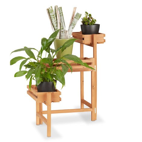 Relaxdays Flower Staircase, 3-Tier Ladder Rack, Adjustable Wooden Plant Stand, Shelf Height 57 cm, Natural