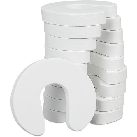 Relaxdays Foam Door Stopper Set Of 10, For Drawers, Baby & Child Finger Guard, Pinch Guards, HWD 2x9x10.5 cm, White