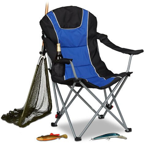 Relaxdays Foldable Camping Chair, Padded Adjustable Backrest, Folding Fishing Seat, 108 x 90 x 72 cm, Blue-Black