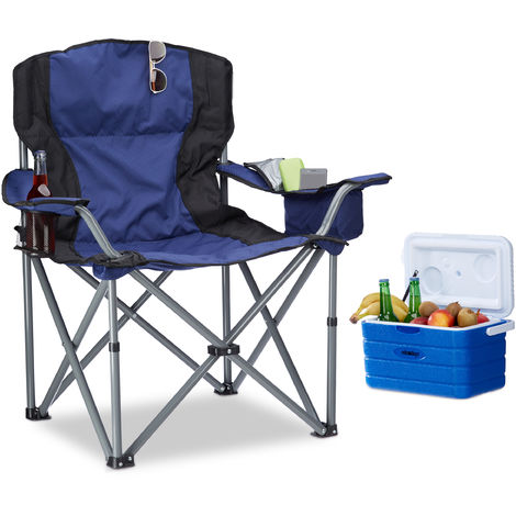 Relaxdays Foldable Camping Chair, with Cup Holder, with Backrest and Armrests, HxWxD: 95x94x 63 cm, Blue-Black