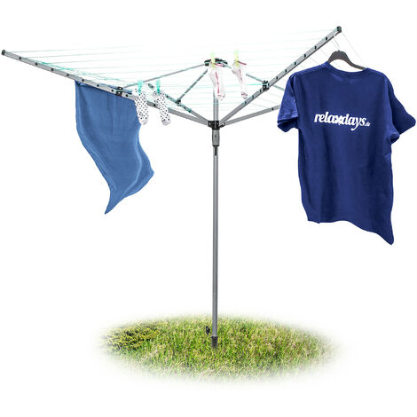 Relaxdays Foldable Clothes Drying Rack Clothes Line With Ground Spike 49 m Clothesline with 4 Sides Extra Robust