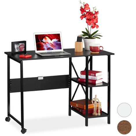 Relaxdays Foldable Desk, PC-Table To Fold, Space-saving Desk, Folding, Home Office, 2 Compartments, Black