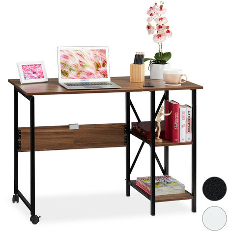 Relaxdays Foldable Desk, PC-Table To Fold, Space-saving Desk, Folding, Home Office, 2 Compartments, Brown/Black