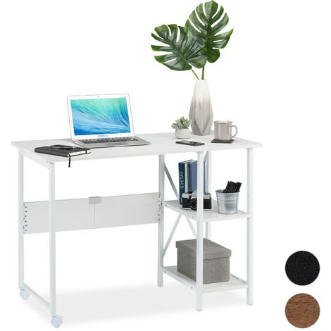 Relaxdays Foldable Desk, PC-Table To Fold, Space-saving Desk, Folding, Home Office, 2 Compartments, White