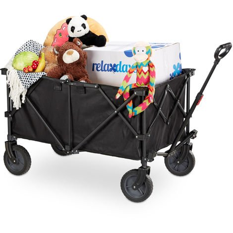 Relaxdays Foldable Handcart, Adjustable Handle, Stretchable PVC, 360° Rotation, Hand Wagon, Rubber Wheels, Black