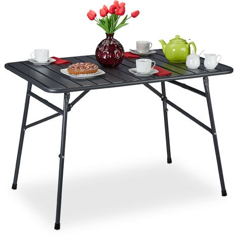 """main image of """"Relaxdays foldable outdoor table, patio, metal, 70.5 x 110 x 74.5 cm (LxWxH), rectangular, waterproof, anthracite"""""""