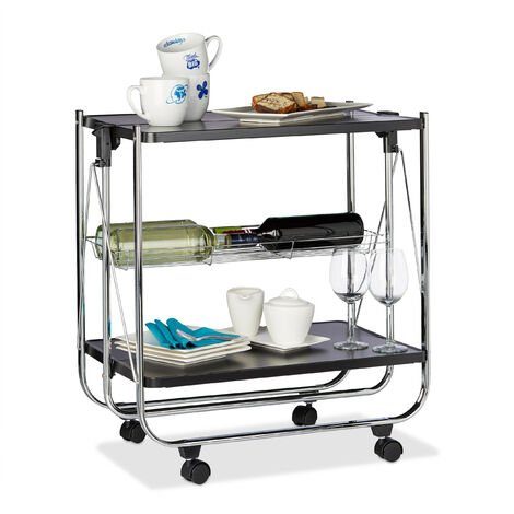 Relaxdays Foldable Serving Trolley, 4 Wheels, 2 Shelves, Basket, HxWxD: 68.5 x 68 x 40.5 cm, Kitchen Cart, Black