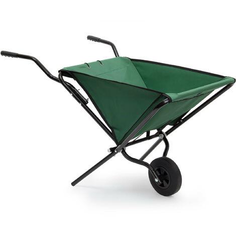 Relaxdays Foldable Wheelbarrow 66 x 64 x 112 cm Folding Barrow Cart of Steel with Strong Polyester, Space-Saving Garden Cart Gardening Wheel Barrow, Holds up to 30 kg, Green