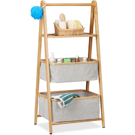 Relaxdays Folding 3-Tier Bamboo Storage Rack with Baskets, Folding Bins, Wooden, HWD: 105 x 49.5 x 36 cm, Natural/Grey