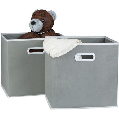 Relaxdays Folding Box Set of 2, Square, Size: 30 x 30 x 30 cm, Storage Box, Shelf Box, Various Colours