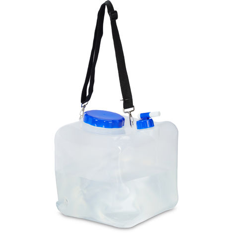 Relaxdays Folding Canister Set of 2, Camping Water Container, Faucet, Lid & Strap, 15 L, BPA-Free, Transparent
