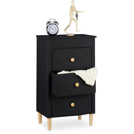 Relaxdays Folding Chest of Drawers, 3 Fabric Drawers with Handles, Compact, Wooden Legs, Dresser, Black