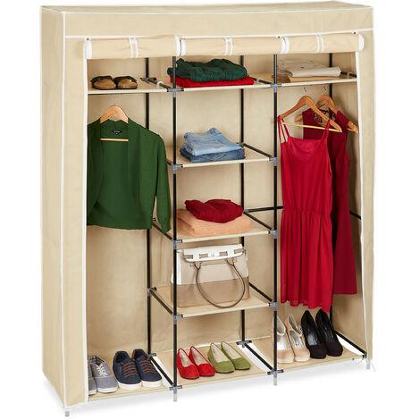 Relaxdays Folding Closet VALENTIN XXL Fabric Wardrobe 173 x 148 x 42.5 cm, 9-Shelves Textile Foldable Storage With Zipper, Beige