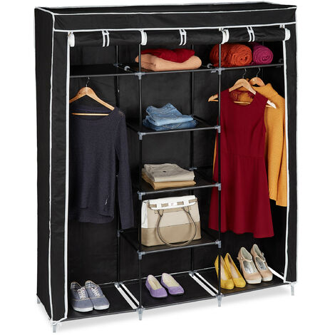Relaxdays Folding Closet VALENTIN XXL Fabric Wardrobe 173 x 148 x 42.5 cm, 9-Shelves Textile Foldable Storage With Zipper, Black