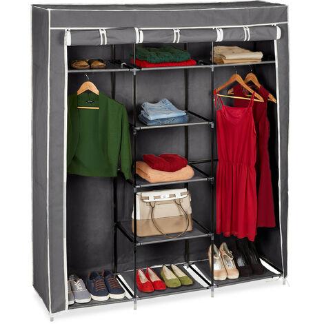 Relaxdays Folding Closet VALENTIN XXL Fabric Wardrobe 173 x 148 x 42.5 cm, 9-Shelves Textile Foldable Storage With Zipper, Grey