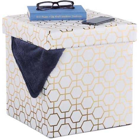 Relaxdays Folding Cube Seat, Padded Ottoman with Lid, Geometric Pattern, Storage Space, 38x38x38 cm, White-Gold
