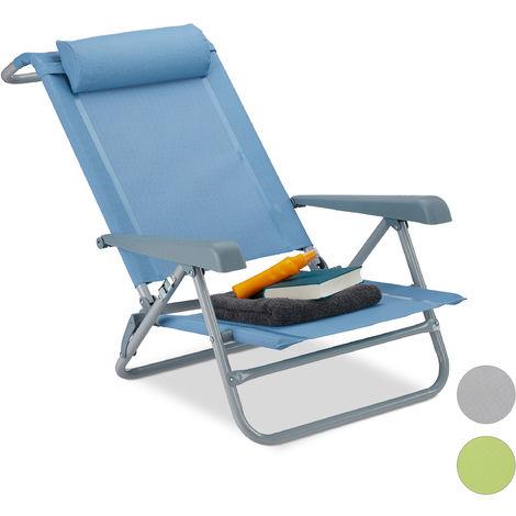Relaxdays Folding Deck Chair, Neck Cushion, Bottle Opener, Adjustable Armrests, 120 kg, Textilene Fabric, Blue