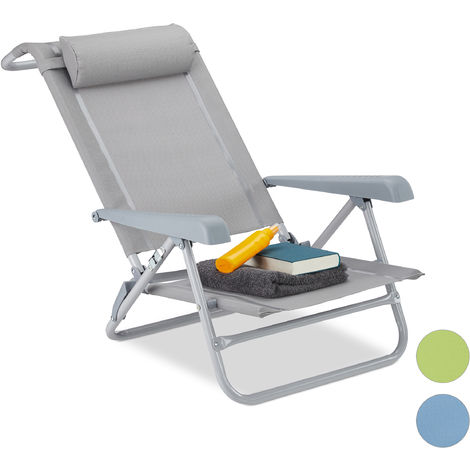 Relaxdays Folding Deck Chair, Neck Cushion, Bottle Opener, Adjustable Armrests, 120 kg, Textilene Fabric, Gray