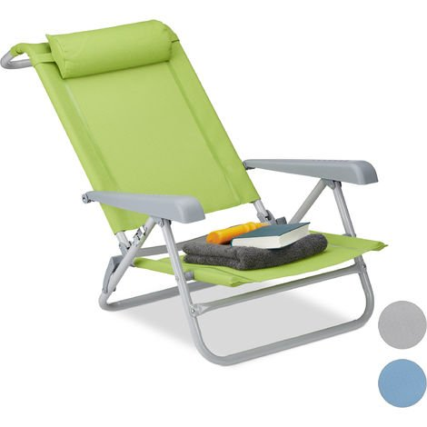 Relaxdays Folding Deck Chair, Neck Cushion, Bottle Opener, Adjustable Armrests, 120 kg, Textilene Fabric, Green
