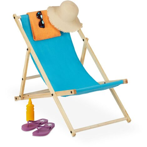 Relaxdays folding deck chair, wood & fabric cover, 3 reclining positions, 120kg, beach chair, light blue cover