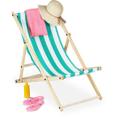 Relaxdays folding deck chair, wood & fabric cover, 3 reclining positions, 120kg, beach chair, white & blue