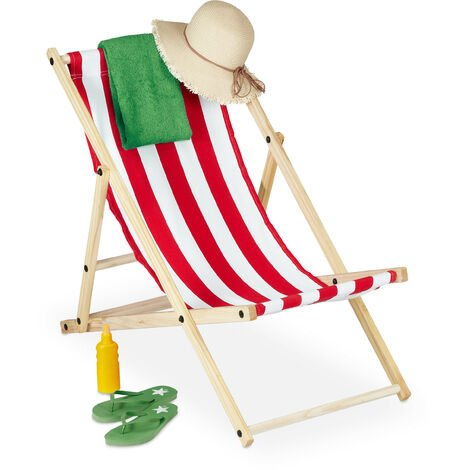 Relaxdays folding deck chair, wood & fabric cover, 3 reclining positions, 120kg, beach chair, white & red