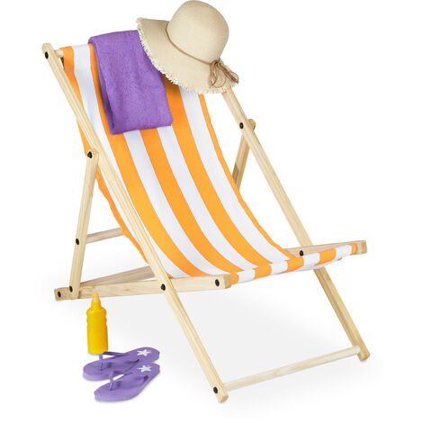 Relaxdays folding deck chair, wood & fabric cover, 3 reclining positions, 120kg, beach chair, white & yellow
