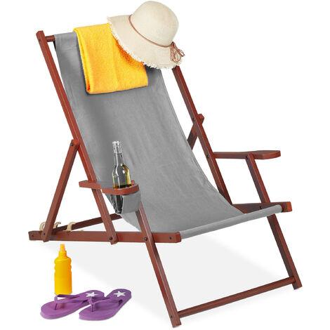 Relaxdays folding deck chair, wooden, 3 reclining positions, armrest & drinks holder, 120 kg, beach chair, grey