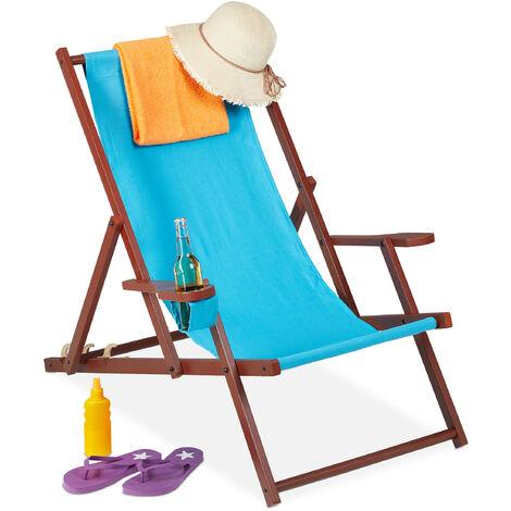 Relaxdays folding deck chair, wooden, 3 reclining positions, armrest & drinks holder, 120 kg, beach chair, light blue
