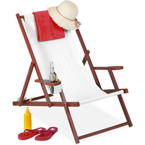 Relaxdays folding deck chair, wooden, 3 reclining positions, armrest & drinks holder, 120 kg, beach chair, white