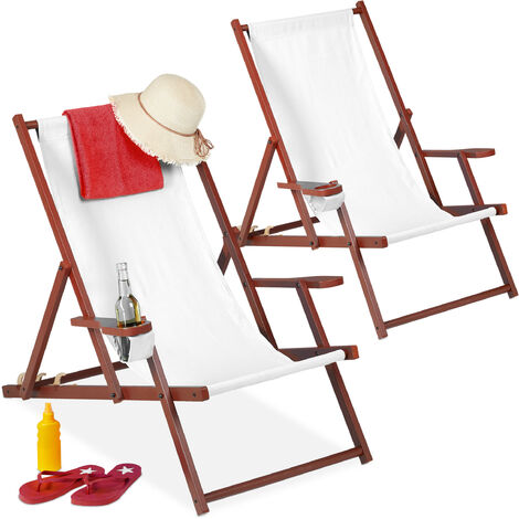 Relaxdays folding deck chairs set of 2, wood, 3 reclining positions, armrest & drinks holder, 120kg, beach chair, white