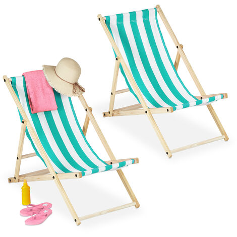 Relaxdays folding deck chairs set of 2, wood & fabric cover, 3 reclining positions, 120kg, beach chair, white & blue