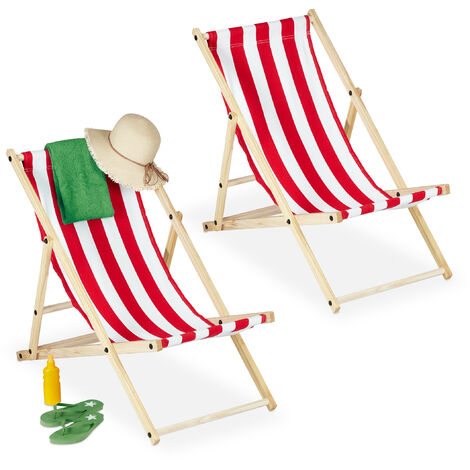 Relaxdays folding deck chairs set of 2, wood & fabric cover, 3 reclining positions, 120kg, beach chair, white & red