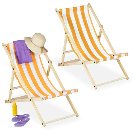 Relaxdays folding deck chairs set of 2, wood & fabric cover, 3 reclining positions, 120kg, beach chair, white & yellow