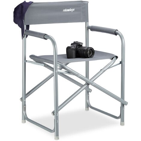 Relaxdays Folding Director's Chair, HxWxD: 81.5 x 56 x 50 cm, Camping Chair, with Logo, up to 120 kg, Fishing Seat, Steel, Grey