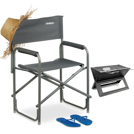 Relaxdays Folding Director's Chair with Logo, Camping Seat for the Garden, Festivals, Camping, max. 120 kg, 85.5x56x45cm, Grey