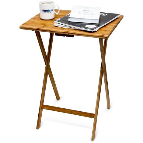 Relaxdays Folding End Table, 68 x 48 x 38.5 cm, Bamboo Foldable Table, Indoor and Outdoor Use, Natural Brown