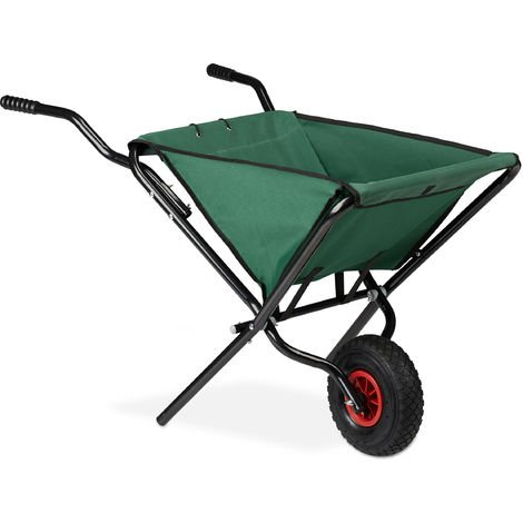 Relaxdays Folding Garden Wheelbarrow, Space-Saving, Lightweight, Pneumatic Wheel, 50L, HWD 67 x 63.5 x 112 cm, Green