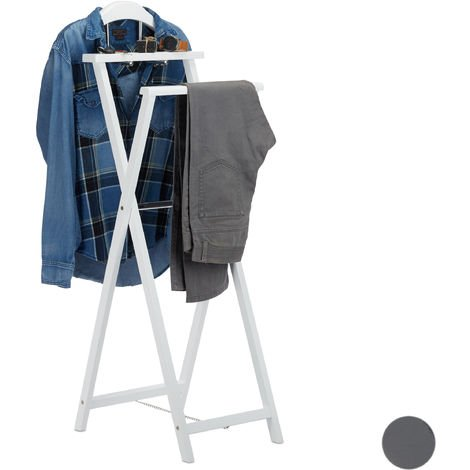 Relaxdays Folding Garment Rack, Clothes Valet Stand for Jackets and Pants, with Tray, MDF, White