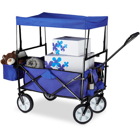 Relaxdays Folding Hand Cart, Canopy Roof, Hand Wagon, 360° Rotatable, Extra Pockets, Size: ca 55 x 83 x 51.5 cm, Blue