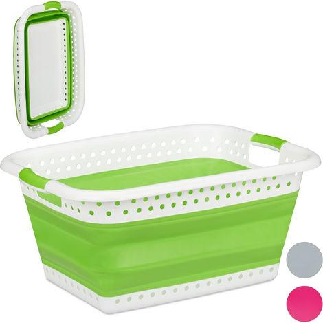 Relaxdays Folding Laundry Hamper, Handles, Plastic & Silicone, Compact Storage Basket, HWD 27x61x45.5 cm, Light Green
