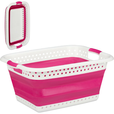 Relaxdays Folding Laundry Hamper with Handles, Plastic & Silicone, Compact Storage Basket, HWD 27x61x45.5 cm, Pink