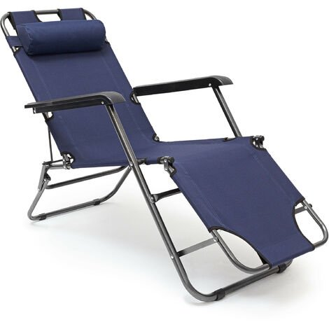 Relaxdays Folding Lounge Chair 35 x 60.5 x 153 cm Patio Furniture Adjustable with 3 Levels, Polyester Cover and Armrests Recliner Foldable with Removable Pillow Camping / Beach / Poolside Chair