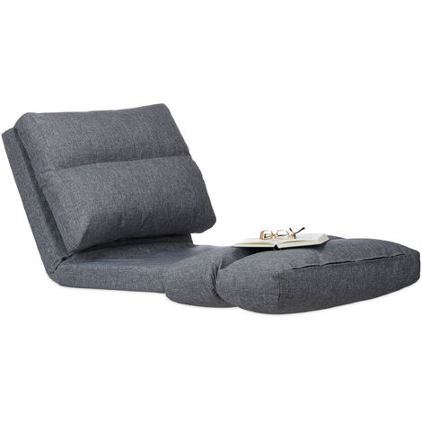 """main image of """"Relaxdays Folding Lounger Cushion, Adjustable Backrest, Pad, For Indoor Use, 194 cm, Grey"""""""